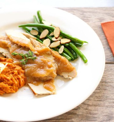 Roasted Turkey, Brown Gravy, Whipped Sweet Potatoes, Green Beans
