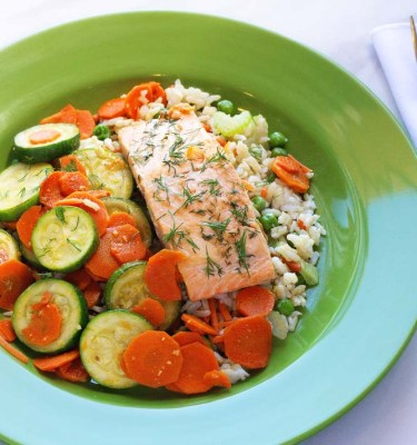 Baked Salmon, Brown Rice Pilaf with Zucchini and Carrots