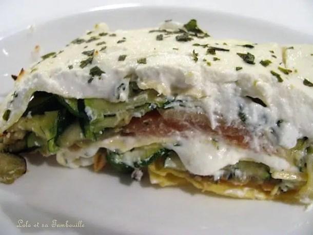 Lasagnes aux courgettes, saumon & chèvre frais
