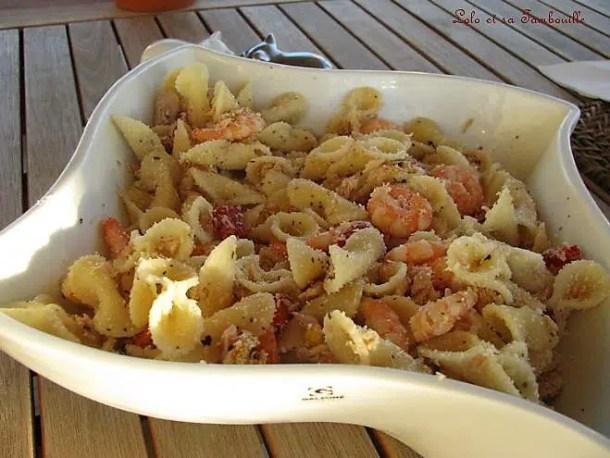 Salade de pâtes au thon & crevettes
