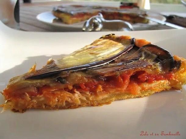Tatin de saumon aux aubergines & mozzarella