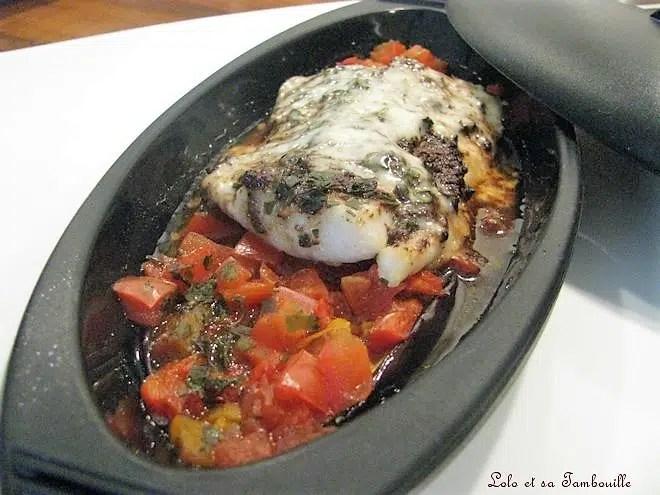 Papillotes de sandre, légumes grillés, olivade noire & cantal