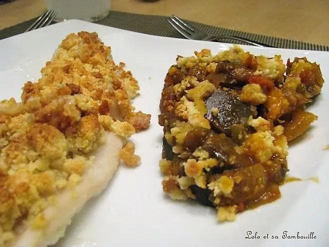 Crumble de poisson & de caponata d'aubergines