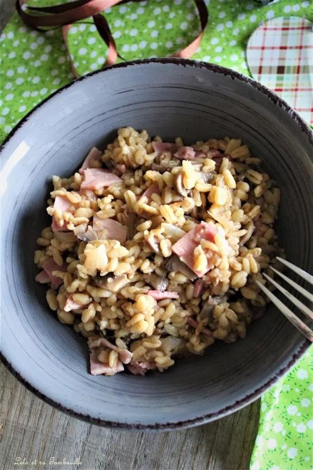 Blésotto aux champignons & jambon