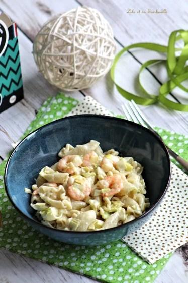 Pâtes aux poireaux & crevettes (5)