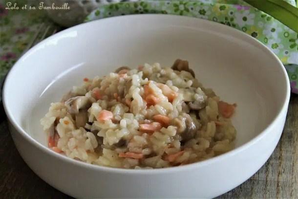 Risotto au saumon fumé, champignons & parmesan