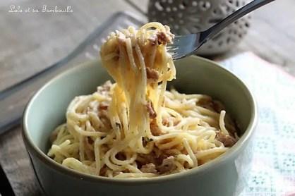 Spaghettis à la carbonara légère au thon (1)