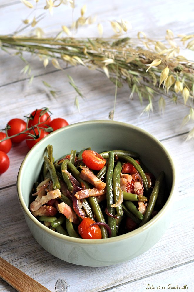 Poêlée d'haricots verts aux lardons