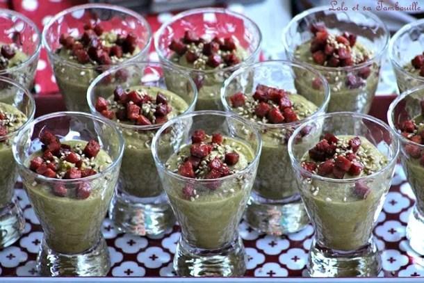 Verrines de crème de petits pois & chorizo