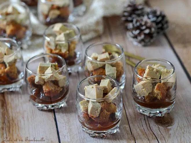Verrines foie gras pain d'épices