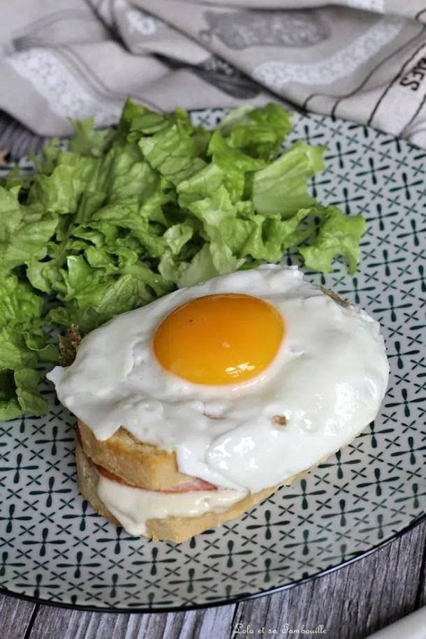 Croque madame bacon & mozzarella
