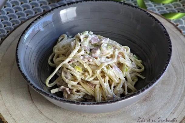 Spaghettis aux poireaux & ricotta