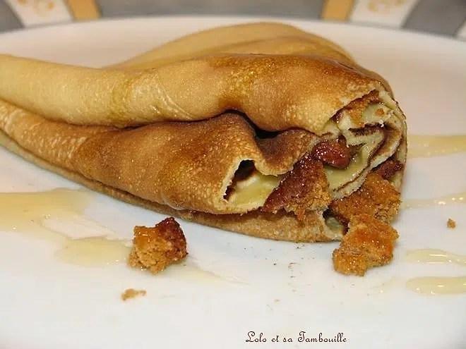 Crêpes à la banane & pain d'épices, filet de miel