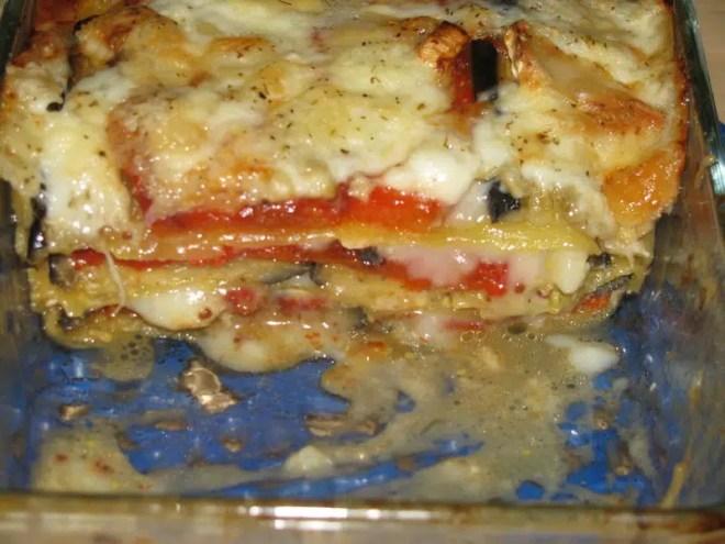 Lasagnes de poivrons grillés, aubergines et chèvre 2