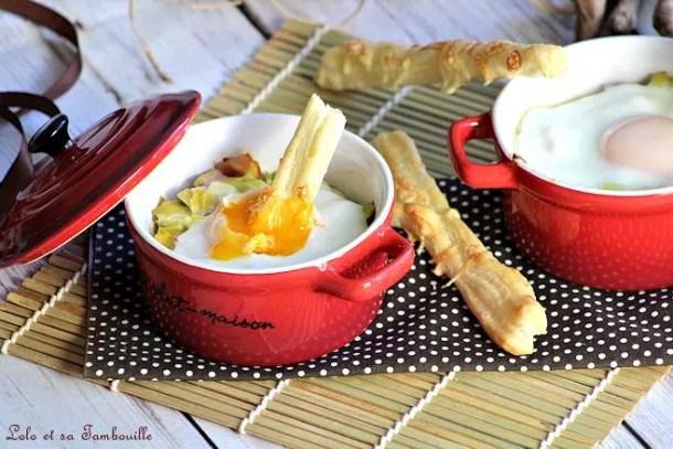 Oeufs cocottes aux poireaux & bacon