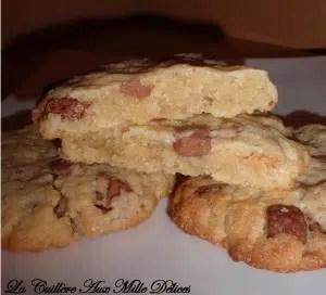 cookies aux éclats de chocolat praliné la cuillère aux milles d'élices