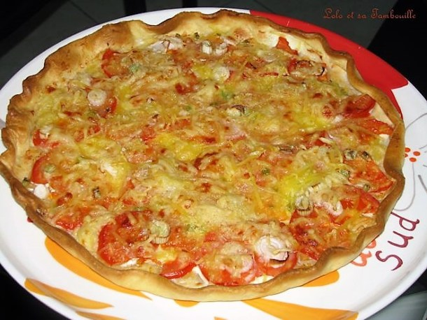 Tarte à la tomate & oignons nouveaux