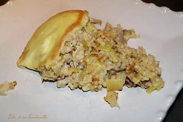 Gratin de perles aux poireaux, thon & fromage raclette