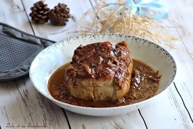 Rôti de porc aux oignons & miel
