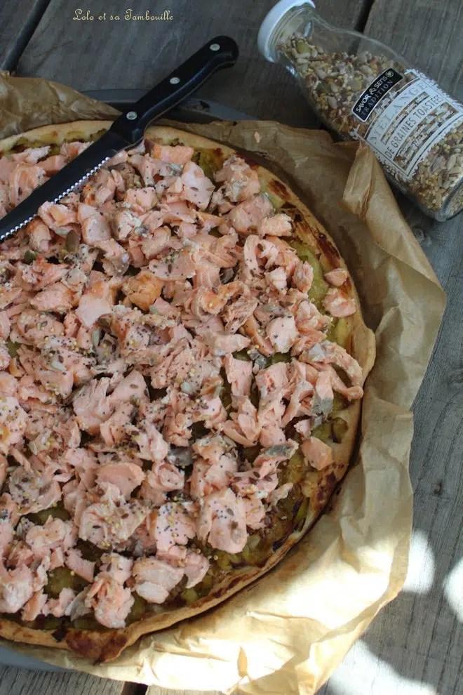 Tarte fine au saumon & poireaux