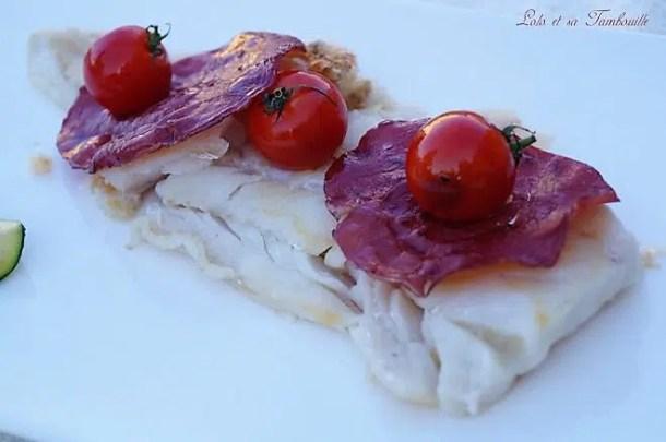 Cabillaud à la plancha {tomates cerises & bresaola}
