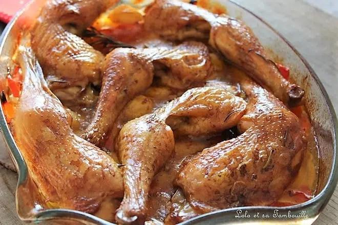 Cuisses de poulet rôties aux légumes