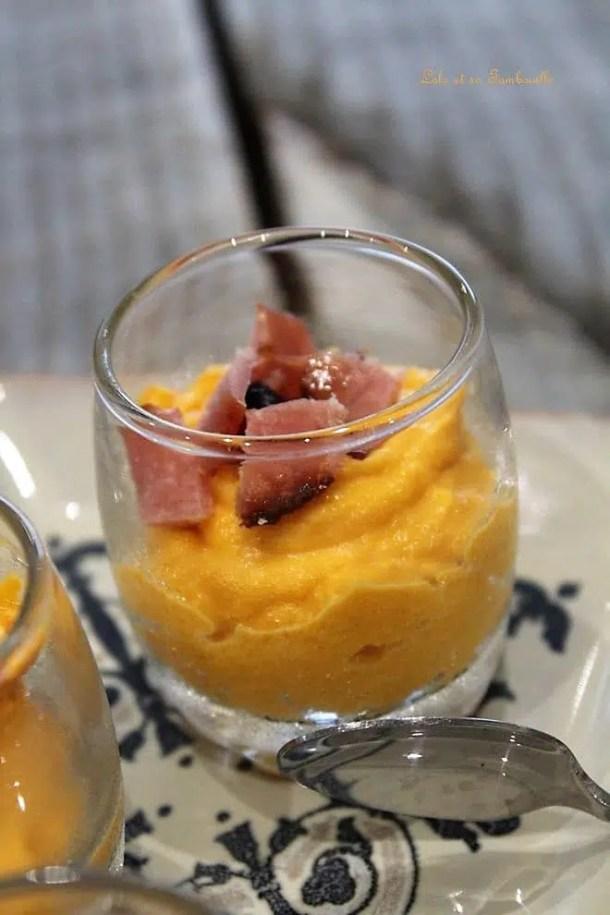 Verrines de butternut rôtie & bacon