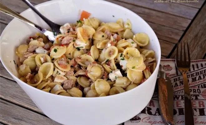 Salade de pâtes au thon & saumon fumé
