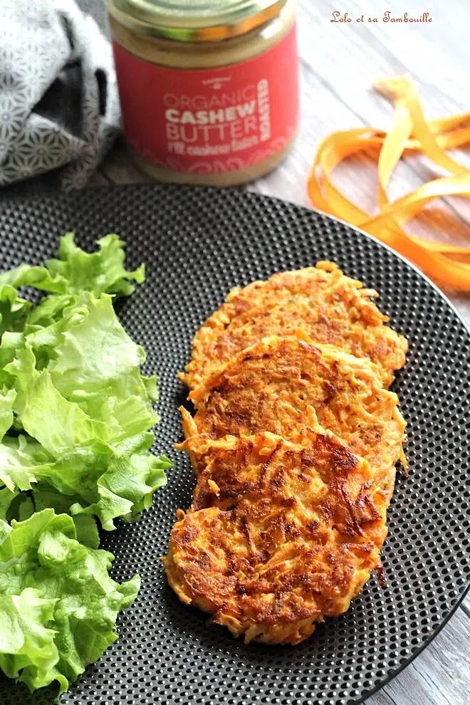 Galettes de carottes & purée de noix de cajou {aux blancs d'œufs}