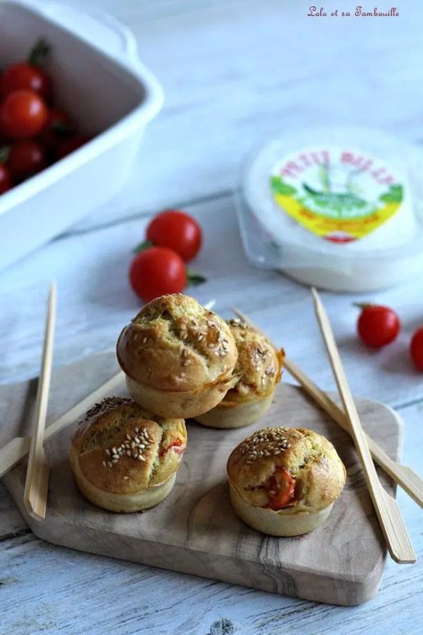 Muffins aux tomates cerise & chèvre frais