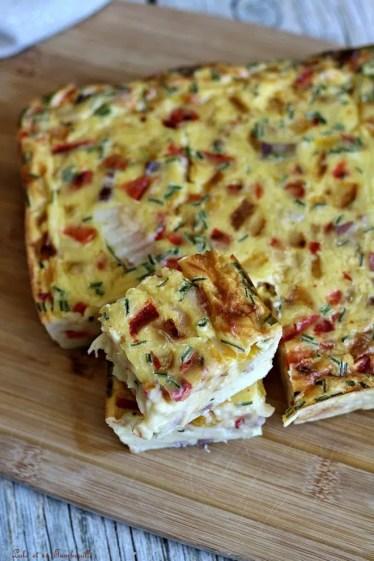 Quiche sans pâte poivrons & lardons (6)