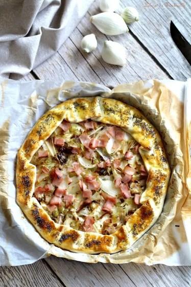 Tarte aux oignons doux, chèvre & bacon (3)