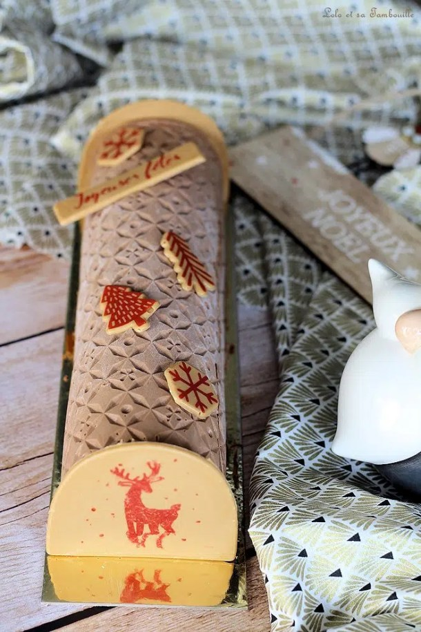 Bûche au chocolat & caramel beurre salé