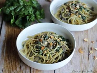 Spaghettis crémeux aux épinards & champignons (3)