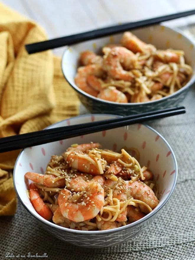 nouilles crevettes soja miel, wok crevettes soja miel, recette crevettes sauce soja miel