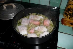 Morceaux de poissons aux poireaux et aux crevettes 2