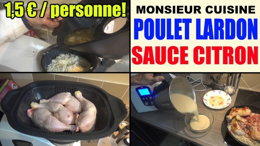 poulet aux lardons riz et sauce citron recette monsieur cuisine lidl silvercrest
