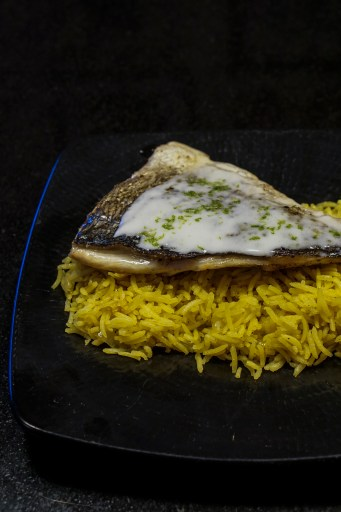 Grilled sea bream with lime and coconut sauce