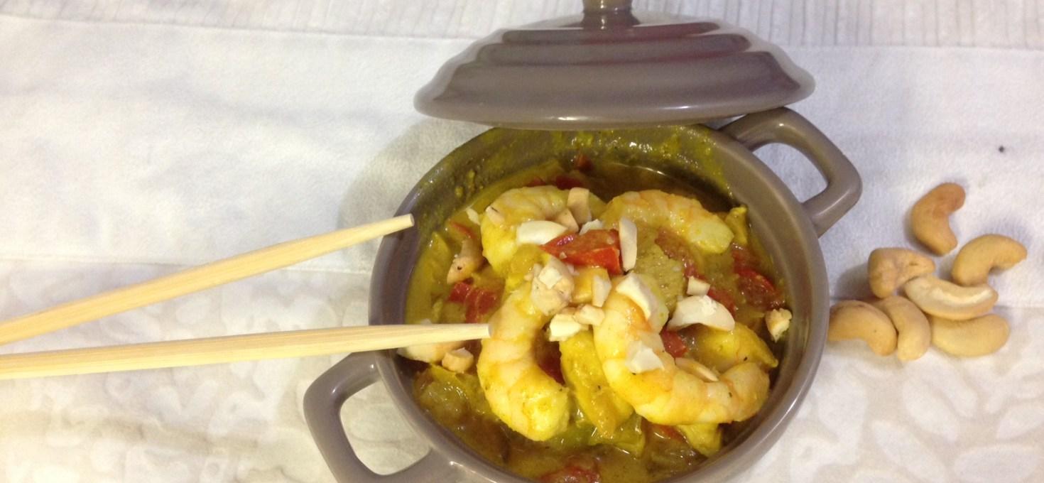 Crevettes, poivrons et pâte de curry