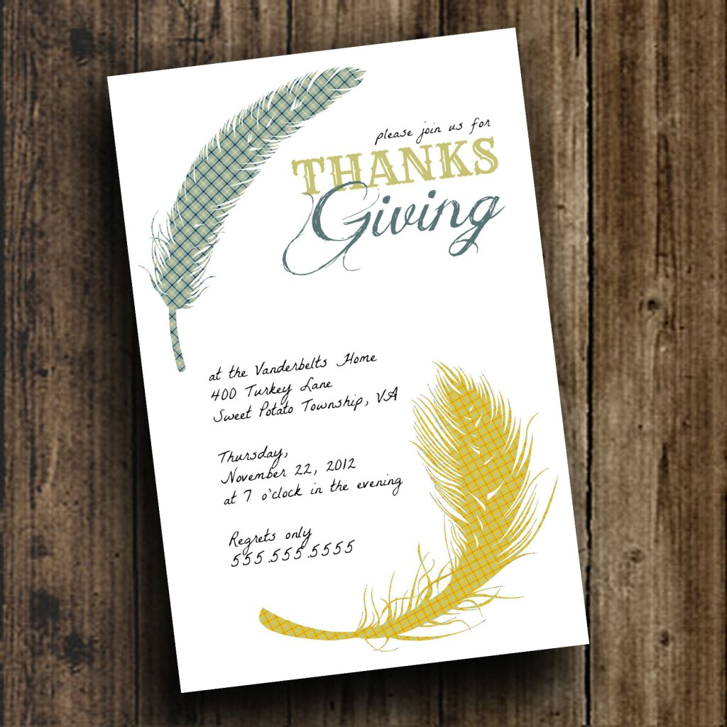 DIY Printable \'Birds of a Feather\' Thanksgiving Day Invite