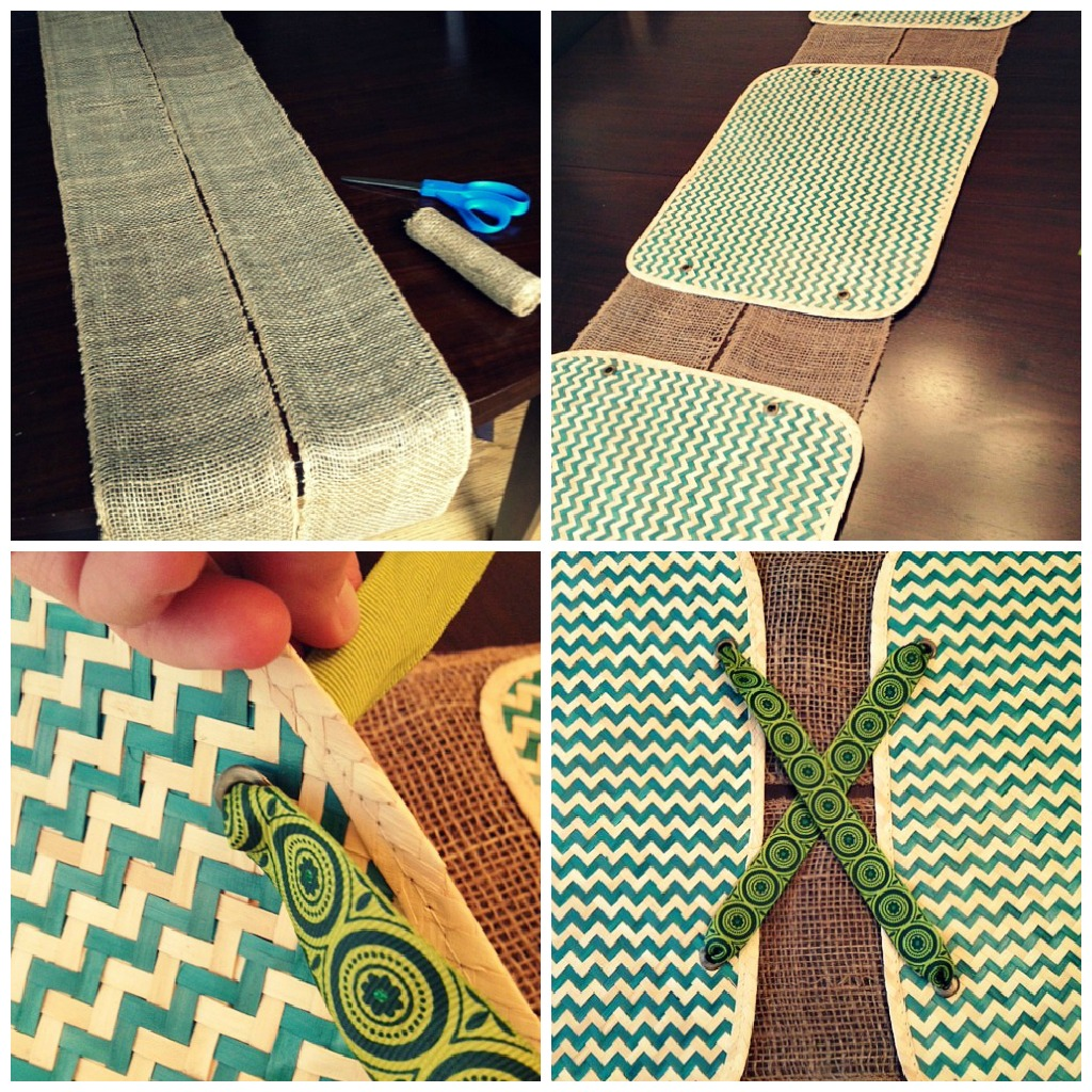 table runner ribbon collage