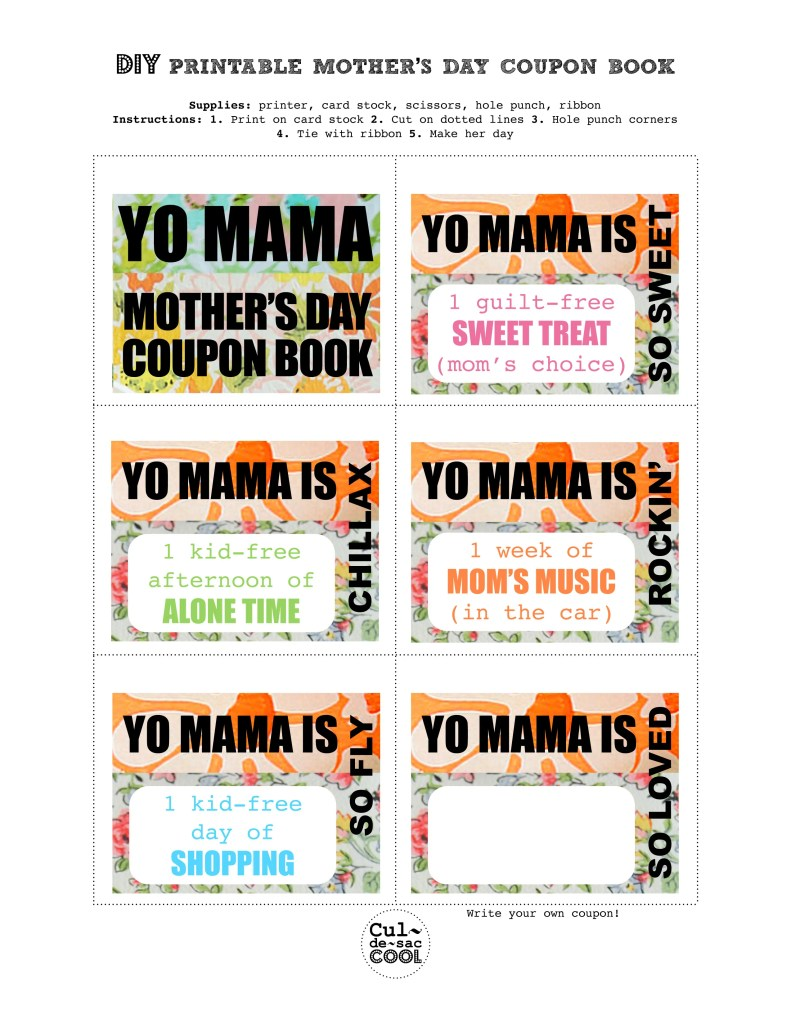 diy printable mother s day coupon book yo mama. Black Bedroom Furniture Sets. Home Design Ideas