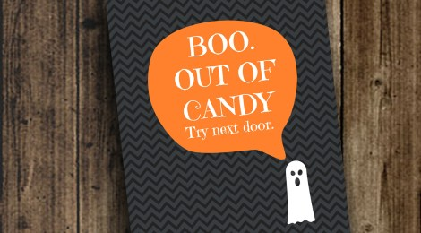 DIY Printable 'Boo. Out of Candy' Sign
