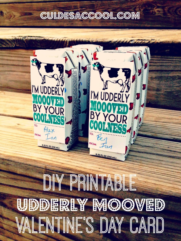 DIY Printable Udderly Moooved Milk Valentine's Day Cards 1