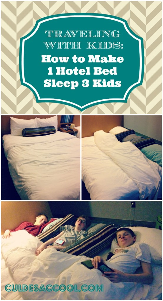 Hotel bed tip traveling with kids Collage