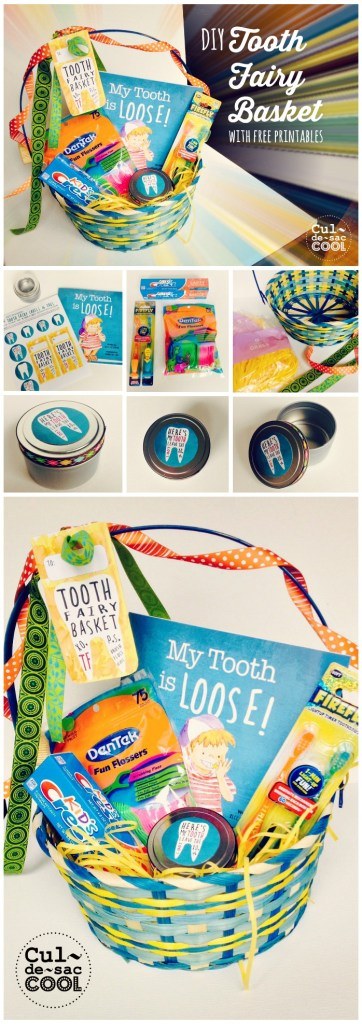 Tooth Fairy Basket Collage with the Children's book My Tooth is Loose by Becca Wilkinson
