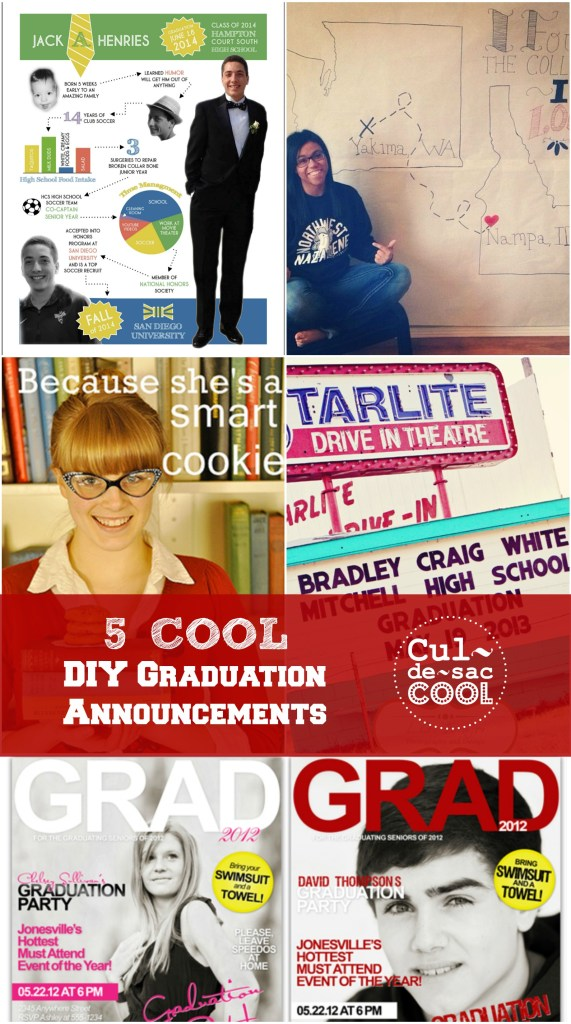 5 Cool DIY Graduation Announcements Collage