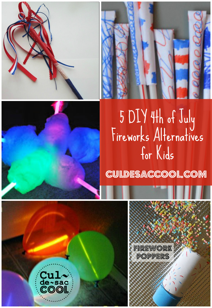 DIY 4th of July Fireworks Alternatives for Kids Collage
