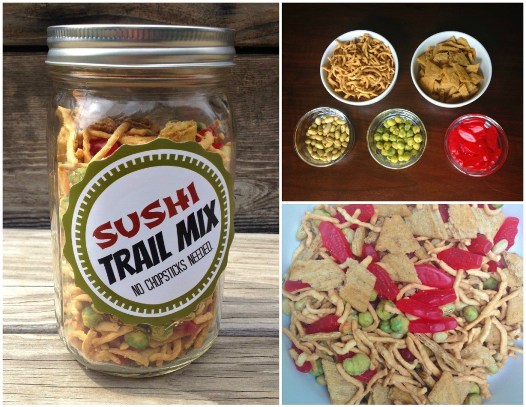 DIY trail mix sushi Collage
