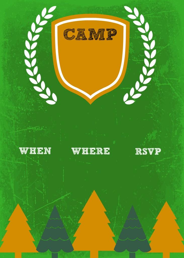 DIY camp birthday invite template